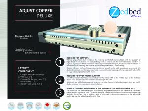 Zedbed Adjust Copper Deluxe w/ Micro Coils Queen Bed