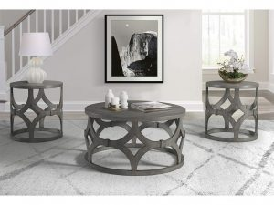 Rustic Grey Round End Table