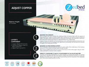 Zedbed Adjust Copper VX w/ Micro Coils Queen Mattress
